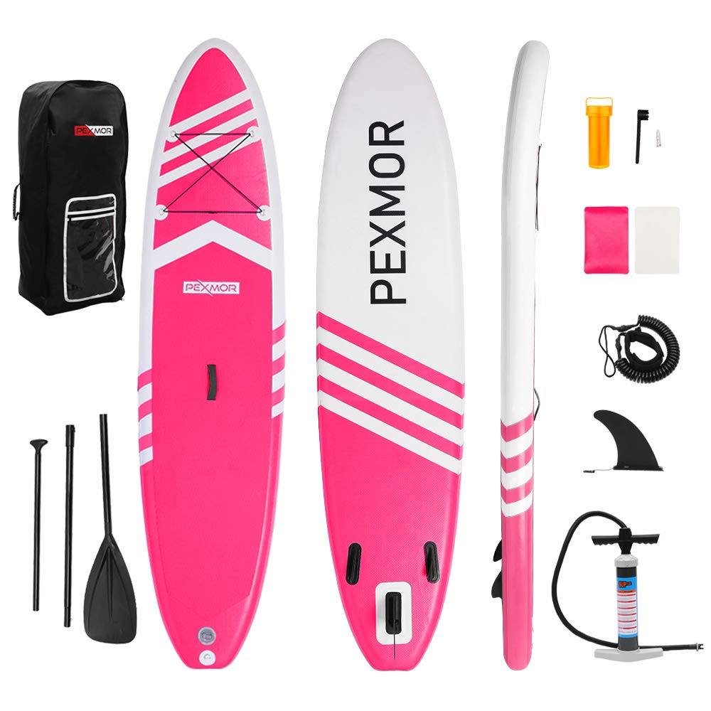 FCH-PEXMOR Inflatable Paddle Boards Stand Up 10.5'x30 x6 ISUP Surf Control Non-Slip Deck Standing Boat with Carry Bag, Floated Paddle, Hand Pump, Removable Fin, Leash, Repair Knits (Pink and White) by FCH
