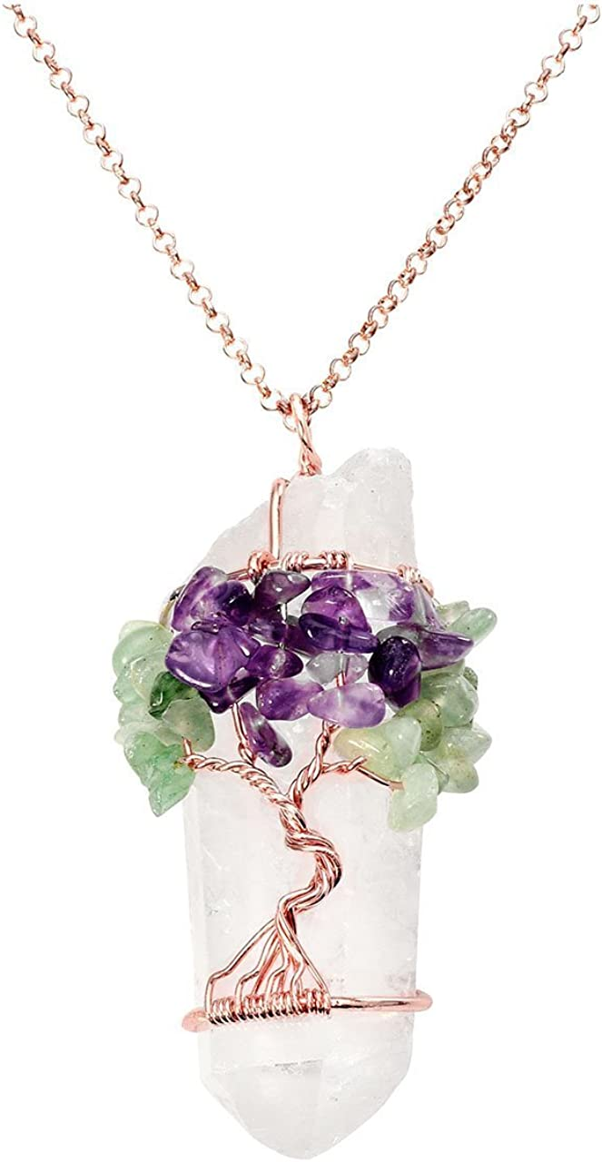 Jewelry Handmade Braid Chain Necklace Wrapped Natural Stone Amethyst Pendant