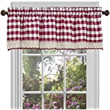 Buffalo Check Plaid Gingham Custom Fit Window Curtain Treatments By GoodGram - Assorted Colors, Styles & Sizes (Single 14 in. Valance, Burgundy)