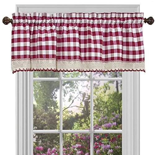 Buffalo Check Plaid Gingham Custom Fit Window Curtain Treatments By  GoodGram   Assorted Colors, Styles U0026 Sizes (Single 14 In. Valance, Burgundy)