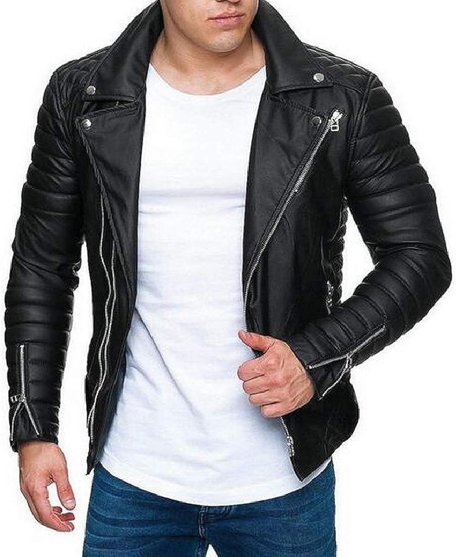 Fensajomon Mens Winter Thick Cotton-Padded Full-Zip Regular Fit Pu Leather Moto Jacket Coat