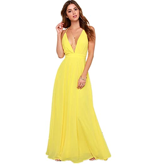 900c897d98f Off Shoulder Sexy Deep V Neck Beach Style Women Dress Strap Backless Maxi  Long Evening Party