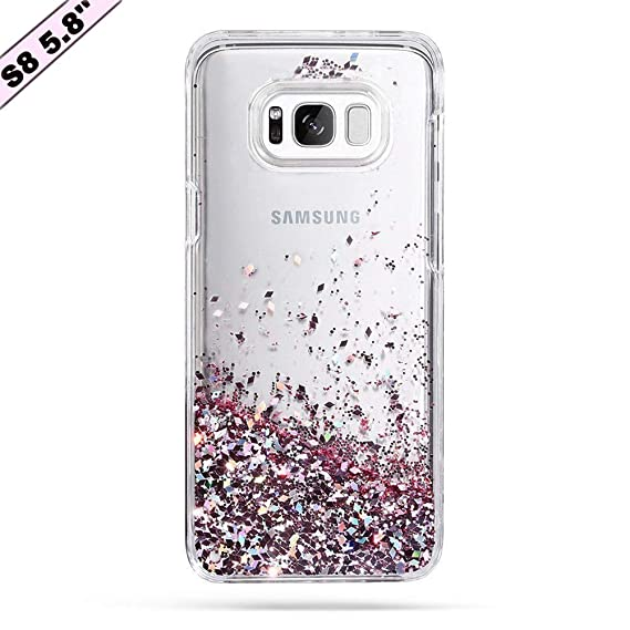 pretty nice fb882 3114a Galaxy S8 Case, Caka Galaxy S8 Glitter Case Luxury Fashion Bling Flowing  Liquid Floating Sparkle Glitter Soft TPU Case for Samsung Galaxy S8 - (Rose  ...