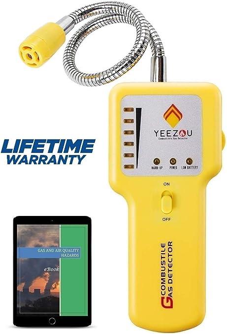 probador de Gas Detector de Fugas de Gas Natural Detector de Gas Combustible de propano port/átil con Alarma de Sonido y luz