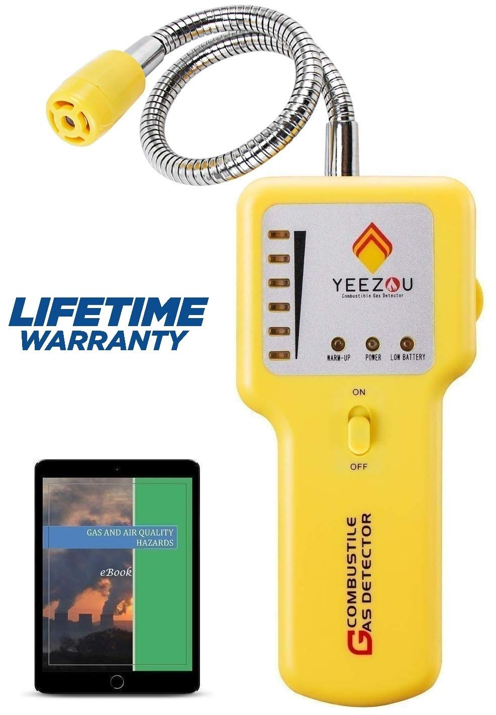 Y201 Propane and Natural Gas Leak Detector; Portable Gas Sniffer to Locate Gas Leaks of Combustible Gases like Methane, LPG, LNG, Fuel, Sewer Gas; w/ Flexible Sensor Neck, Sound & LED Alarm, eBook