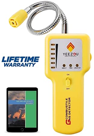Y201 Propane and Natural Gas Leak Detector Portable Gas Sniffer to Locate Gas Leaks of Combustible Gases like Methane, LPG, LNG, Fuel, Sewer Gas w Flexible Sensor Neck, Sound LED Alarm, eBook
