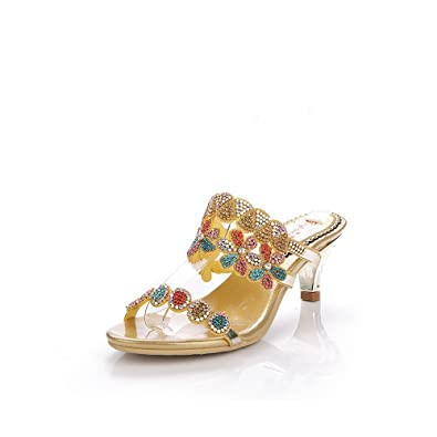 d97e403c205b Unicoratha Women s Colorful Crystal Mid Heel Evening Party Dress Sandals  Rhinestone Bridal Shoes Gold 3.5 M