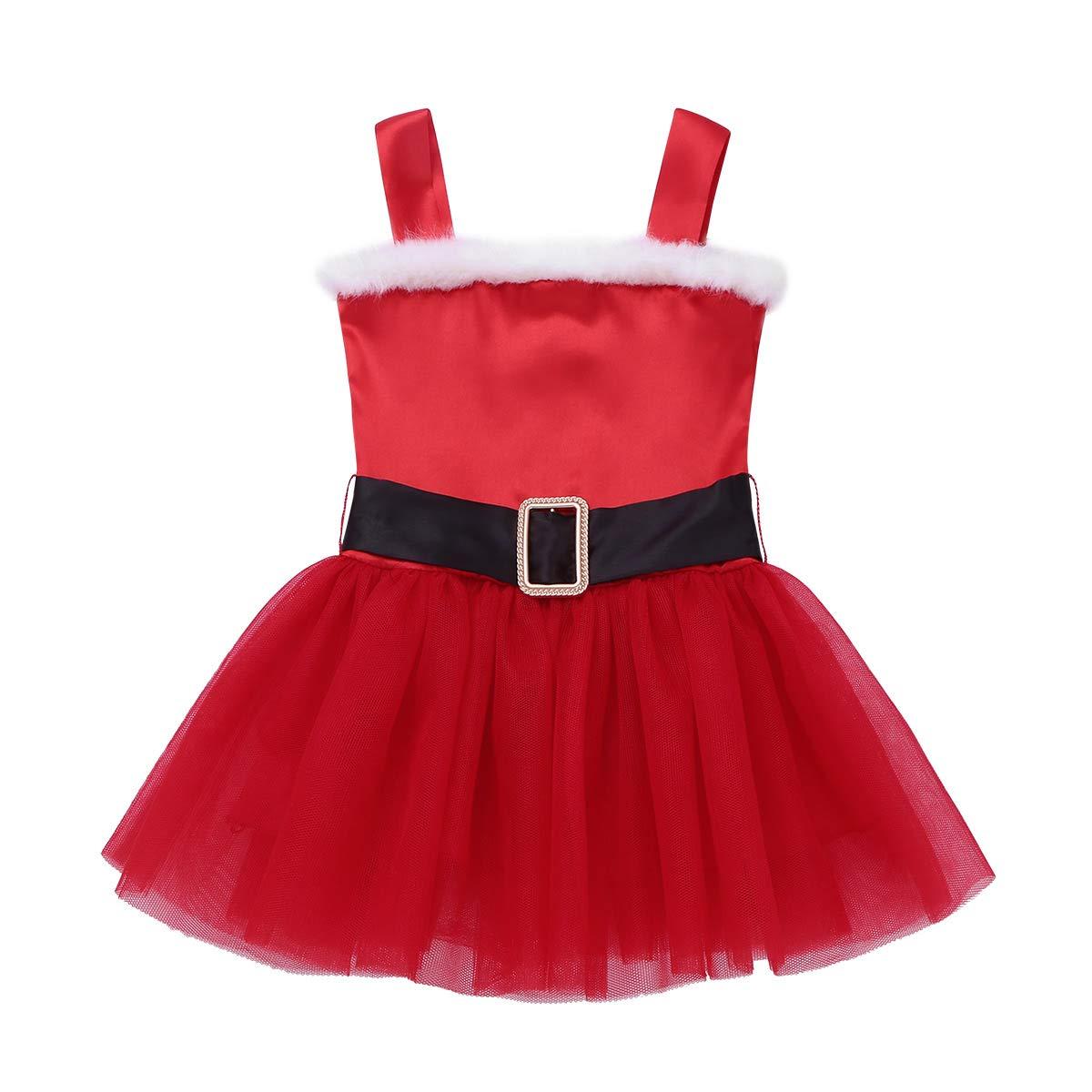ranrann B/éb/é Fille Robe de Princesse No/ël Costume M/ère No/ël D/éguisement Robe de Soir/ée C/ér/émonie Robe de Mariage Demoiselle dhonneur Robe Tutu Fourrure Rouge 0-24 Mois
