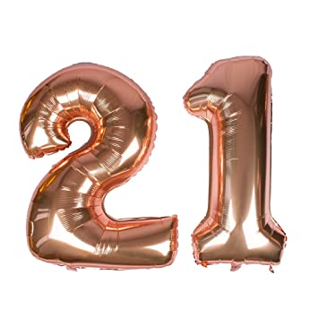Globo gigante de oro rosa, número 21, 40 Mylar Foil Numero Globos