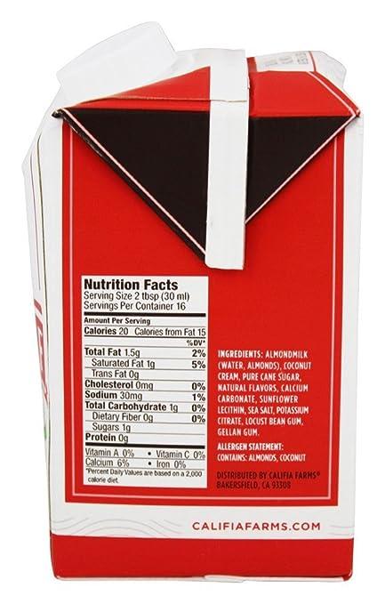 Califia Farms - Original crema y crema de leche semicircular Original Crema de almendra - 16.9 fl. onz.: Amazon.es: Salud y cuidado personal