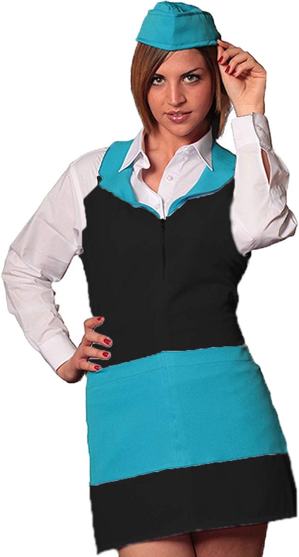 serveuse bar Fratelli Ditalia Tablier zipp/é pour femme pour h/ôtel travail restaurant barman