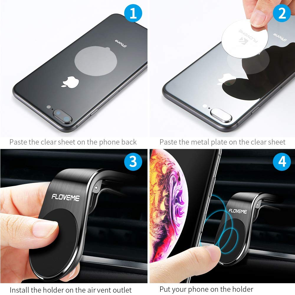 Magnetic Phone Car Mount 2 Pack FLOVEME 5N52 Magnets Hands Free Universal Smart GPS Cell Phone Holder for Car Air Vent Mount for iPhone 11 Pro Max XR XS X 8 7 Plus Samsung Galaxy S10 S9 S8 Note 10