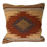 "Cushion Covers Kilim, commercio equo e solidale, fatto a mano su Handlooms utilizza 80/20-Cuscino in lana/cotone, colori naturali pallidi ""Almora"", Tessuto, marrone, 45 x 45"