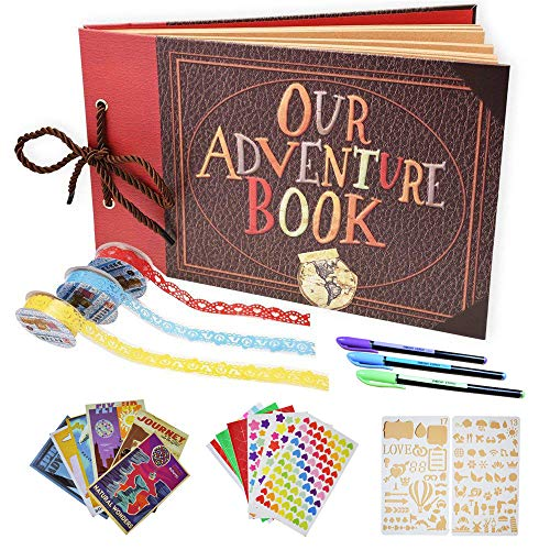 Tounhere Adventure Book Scrapbook Album – DIY Photo Album for Wedding, Anniversary, Adventures & Travels – Great Scrapbook Starter Kit for Kids and Adults – Ideal as a Birthday, Thanksgiving Gift ()
