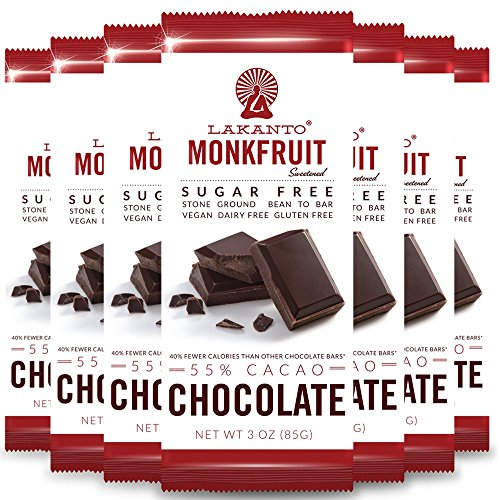 Lakanto Sugar Free 55% Cacao Chocolate Bar, 3 Ounce (8 (Chocolate Ground Sugar)