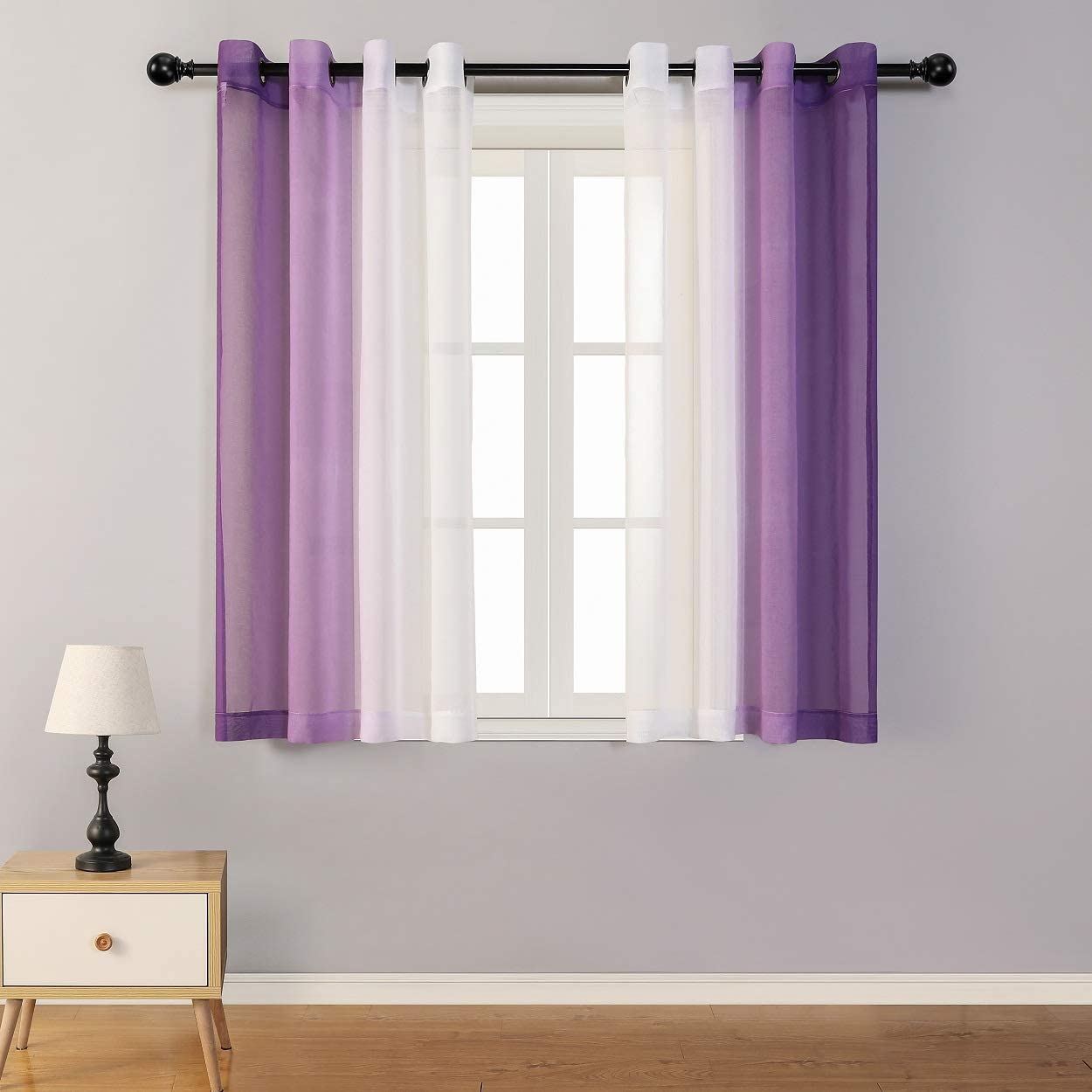 MYSKY HOME Ombre Purple and White Sheer Curtains for Bedroom Set of 2 Panels Grommets Linen Look Modern Decorative Semi Window Sheer Drapes Elegant Curtains for Living Room Girls 63 Inch Length