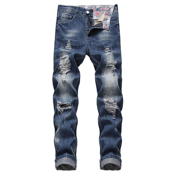 Pantalón Vaquero Hombre Elástico Casual Jeans Straight ...