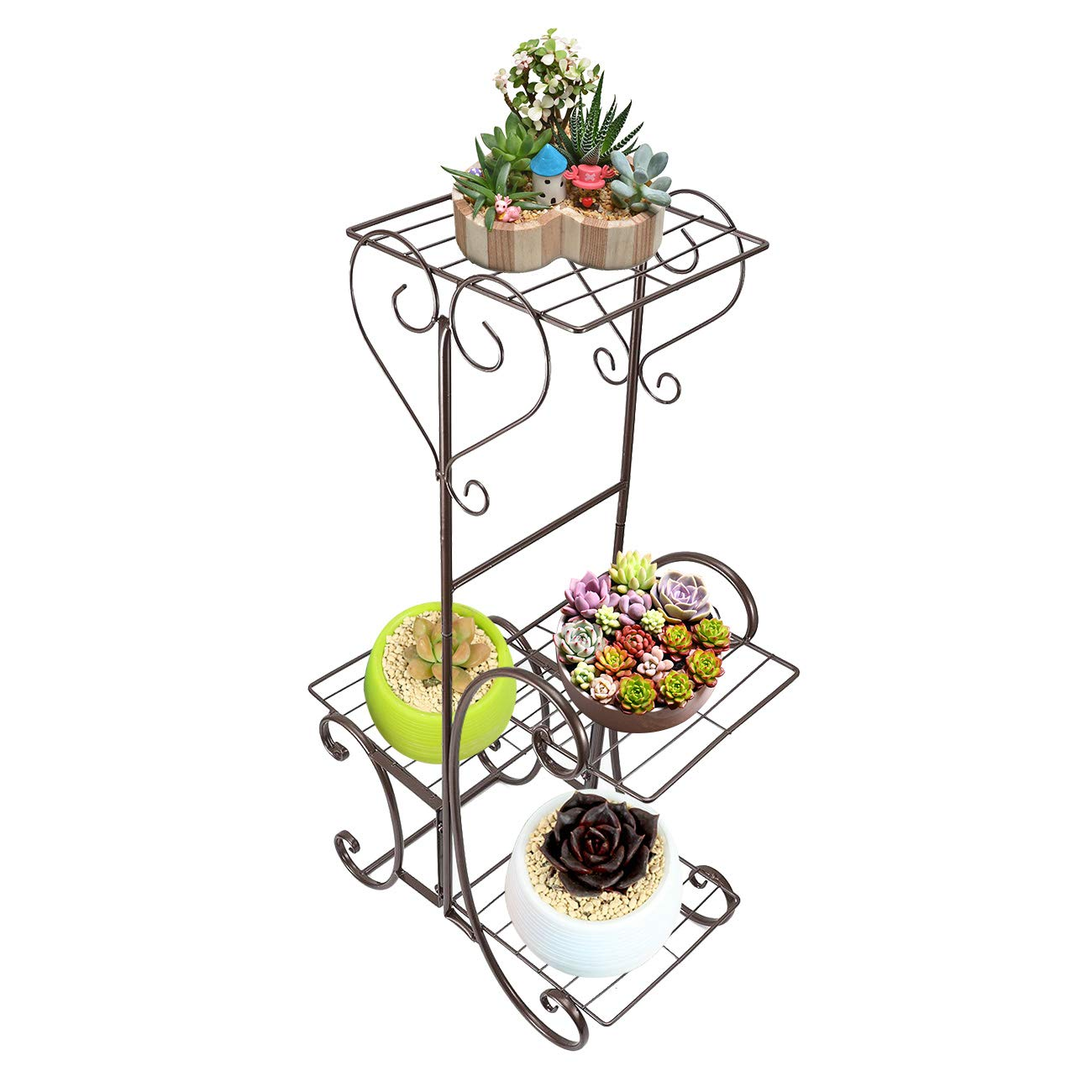 Flower Pot Stand Holder Rack Metal Pot Plant Storage Display Shelf for Garden Home Outdoor Indoor Bronze Dyna-Living Metal Plant Stand 4 Tier