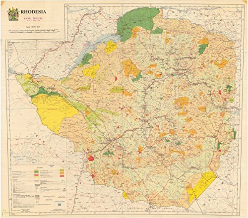 Historic Map | Zimbabwe 1974 | Rhodesia : Land Tenure as at 1st April, 1974 | Antique Vintage Reproduction 18in x 16in