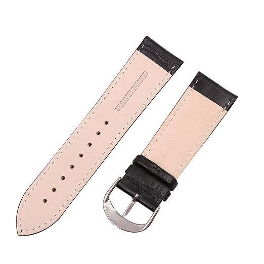 mysunny Hombre y Mujer Correa Reloj de Cuero Genuino Repuesto Compatible Con Relojes Moda/Smartwatch Hebilla de Aguja De Acero Inoxidable Negro 22mm: ...
