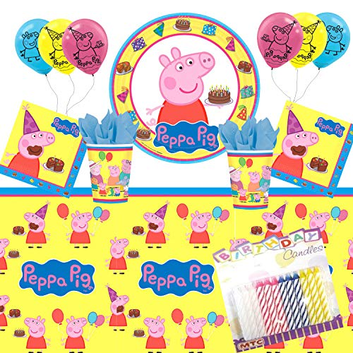 Peppa Birthday Party (Peppa Pig Party Supplies Pack Serves 16: Dinner Plates Luncheon Napkins Cups Table Cover with Birthday Candles and Balloons (Bundle for)