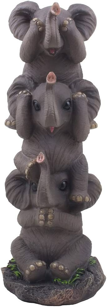 Home 'n Gifts See, Hear and Speak No Evil Elephants Totem Statue for African Jungle Safari Decor or Whimsical Animal Figurines As Decorative Birthday Gifts That Bring Luck