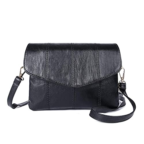 eb4a1500f Womens Leather Small Crossbody Bags Cell Phone Wallet Purse Bag for Women ( Black-Vertical