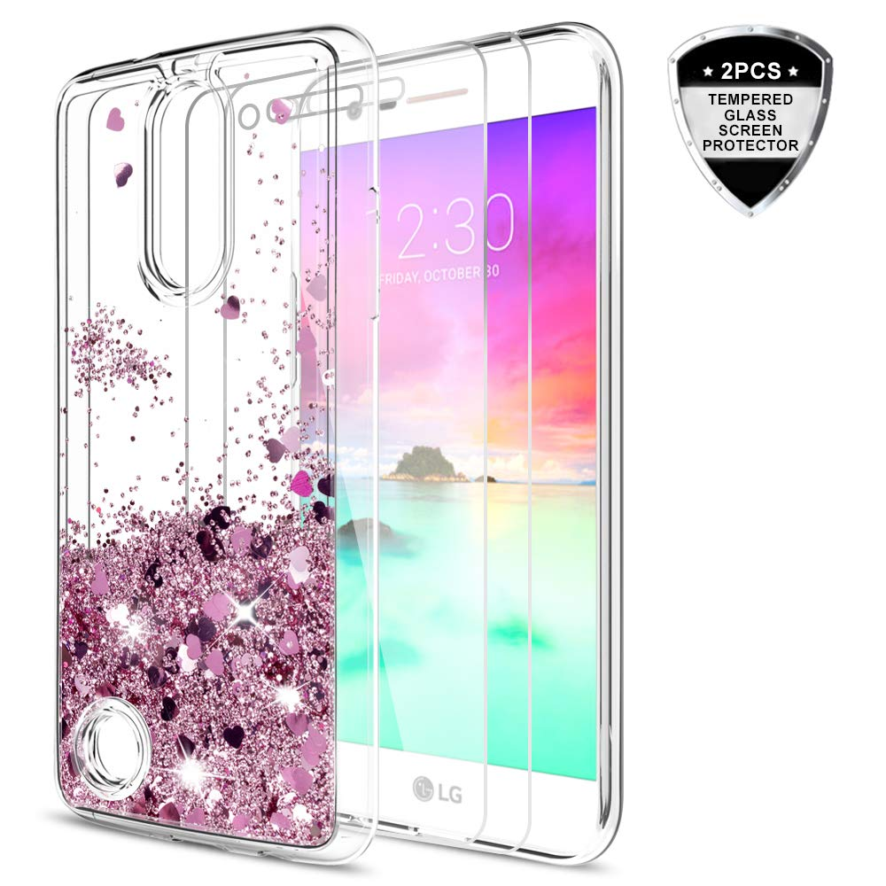 LeYi LG K20 V Case,LG Harmony/LG K20 Plus/LG Grace LTE/LG LV5 Case with Tempered Glass Screen Protector,Liquid Glitter Sparkle Girl Women Cute Clear TPU Protective Case for LG K10 2017 ZX Rose Gold