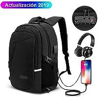 Manba Mochila antirrobo Mochila Daypack de 30L con Puerto de Carga USB Interfaz para Auriculares, Mochila Impermeable a Diario, Mochila para portátil de 12-16 Pulgadas, Estudiantes (Negro+1)