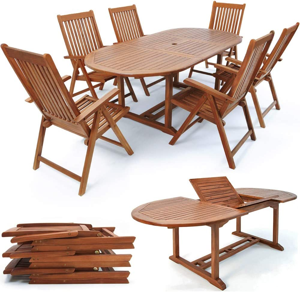Deuba Wooden Garden Dining Table and Chairs Set FSC/® certified Eucalyptus Wood Outdoor Patio Conservatory Oval Furniture 6 Seater