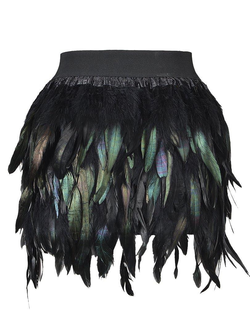 Choies Mujer Falda Corta con Plumas sintéticas Negra L: Amazon.es ...
