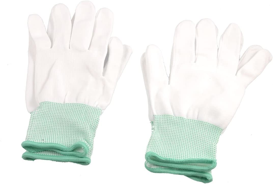 uxcell Elastic Cuff Safety Working Gloves 2 Pair White Green,