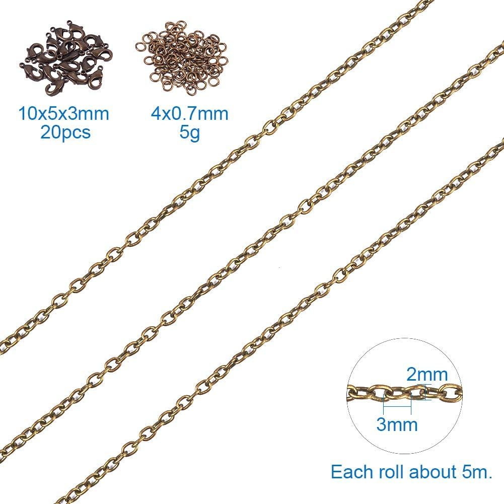 Antique Bronze PH PandaHall 5 Yards Iron Twisted Curb Link Cable Chains Necklace 5 Yards Iron Cross Chain with 20 Lobster Claw Clasps and 100 Jump Rings for Jewelry Making