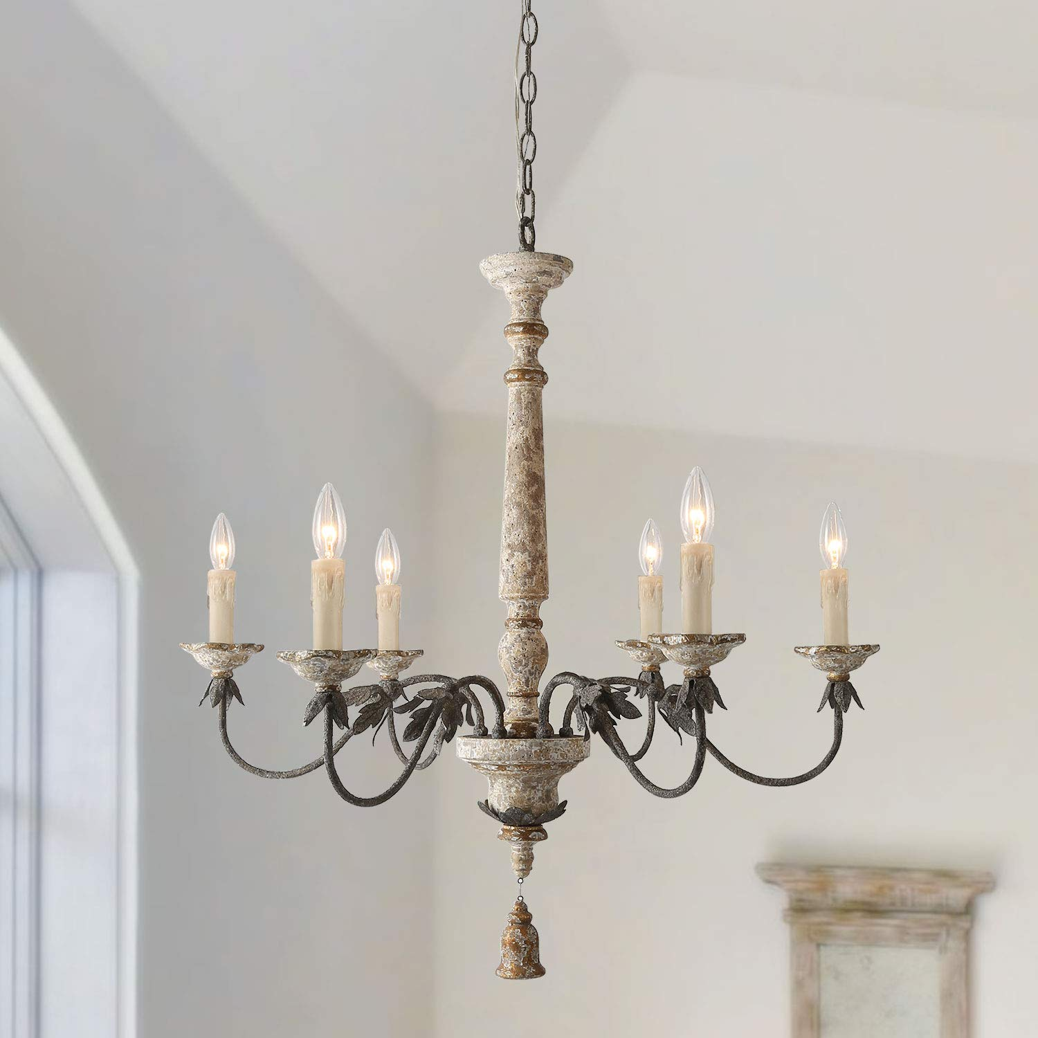 """LALUZ 6 Lights French Country Chandelier with Metal Flower Arms in Distressed Wood and Rusty Steel Finish, 31.1"""" Large Shabby Chic Dining Room Pendant Light Fixture, A03484"""