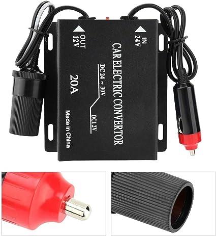 SANON 24V /à 12V Convertisseur Dalimentation de Voiture Abaisseur Transformateur Allume-Cigare Type 20A