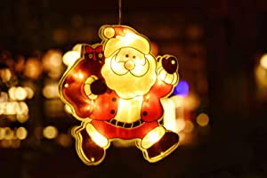DANLI Christmas Lighted Window Decorations Battery Operated, LED Christmas Tree Decor Lights, Snowman Santa Claus Silhouette Decoration,Window Ornaments for Indoor Outdoor Home Office Xmas