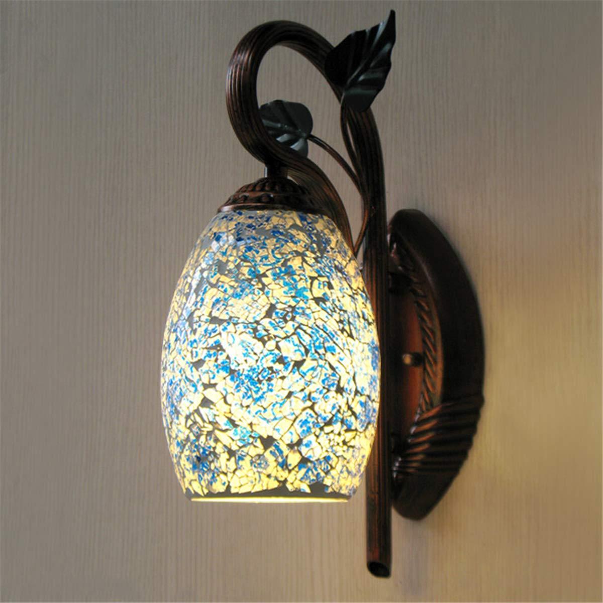 L&U Chinesische Retro kreative Wandlampe, roter BronzelampenKörper, Blauer Glaslampenschirm, einfache Korridor-Treppengangschlafzimmernachtwandwand Blaue und weiße Porzellanglaswandlampe
