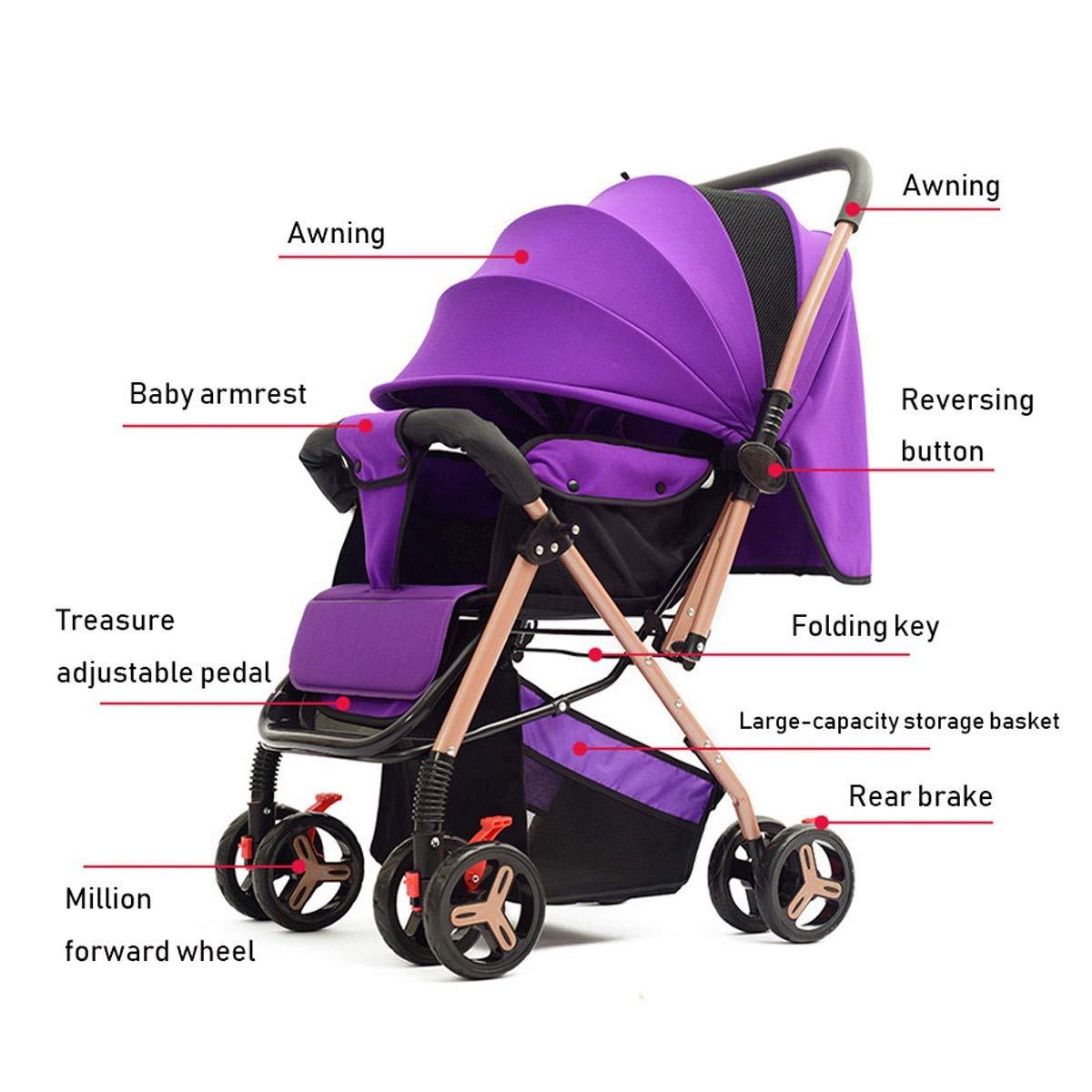BabyCarriage Poussette pour b/éb/é si/ège Pliant l/éger b/éb/é inclinable Main Pliante Parapluie Poussoir , Poussette bidirectionnelle