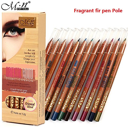 MENOW 12 Color Eyeliner Woods Lasting Dazzling Color Makeup Pen Eye Liner (12 Color Woods makeup eyeliner)
