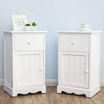 Joolihome White Bedside Table Set Of 2 Bedside Cabinet With Drawer