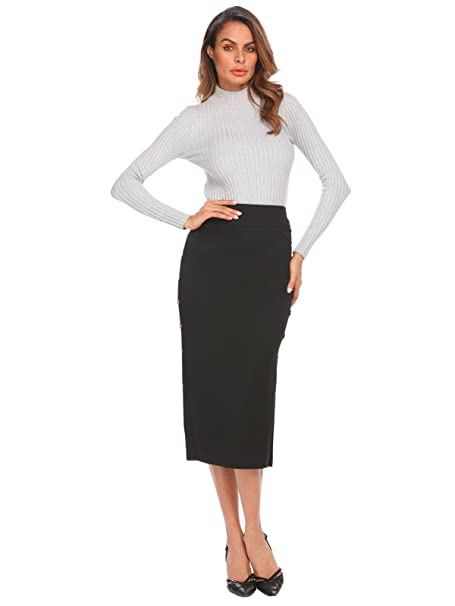 3107282ab0794c Zeagoo Women's Pencil Skirt Side Button Down Slit Skirt for OL at ...