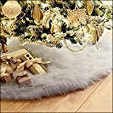 Buyeverything 30 inch Christmas Tree Skirt Mat Plush Faux Fur Handmade Tree Skirt Dress Area Rugs Decorations for Indoor Outdoor Home Xmas Pine Party Decor Home Ornaments (Gray)