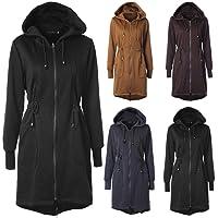 RIBITENS Women Casual Pockets Zipper Drawstring Hoodie Coat Tunic Sweatshirt Long Jacket Outerwear