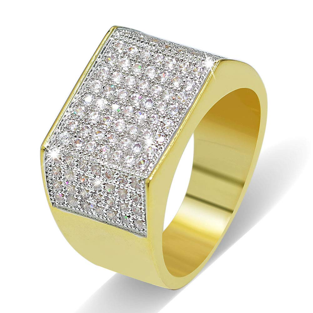 Moca Jewelry Iced Out Personalized Fashion Ring 18K Gold Plated Bling CZ Simulated Diamond Hip Hop Ring for Women 8