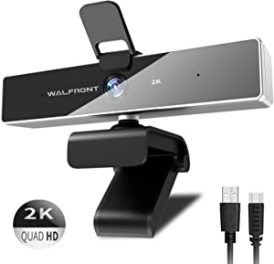 2K Webcam with Microphone, Walfront Web Camera with Privacy Cover for PC Laptop Desktop, Plug and Play Computer Camera for Windows Mac OS, Video Conference, Gaming, Online Classes and Streaming