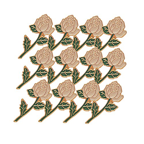 - 7/8 Inch Long Stem White Rose Lapel Pin - Package of 12, Poly Bagged