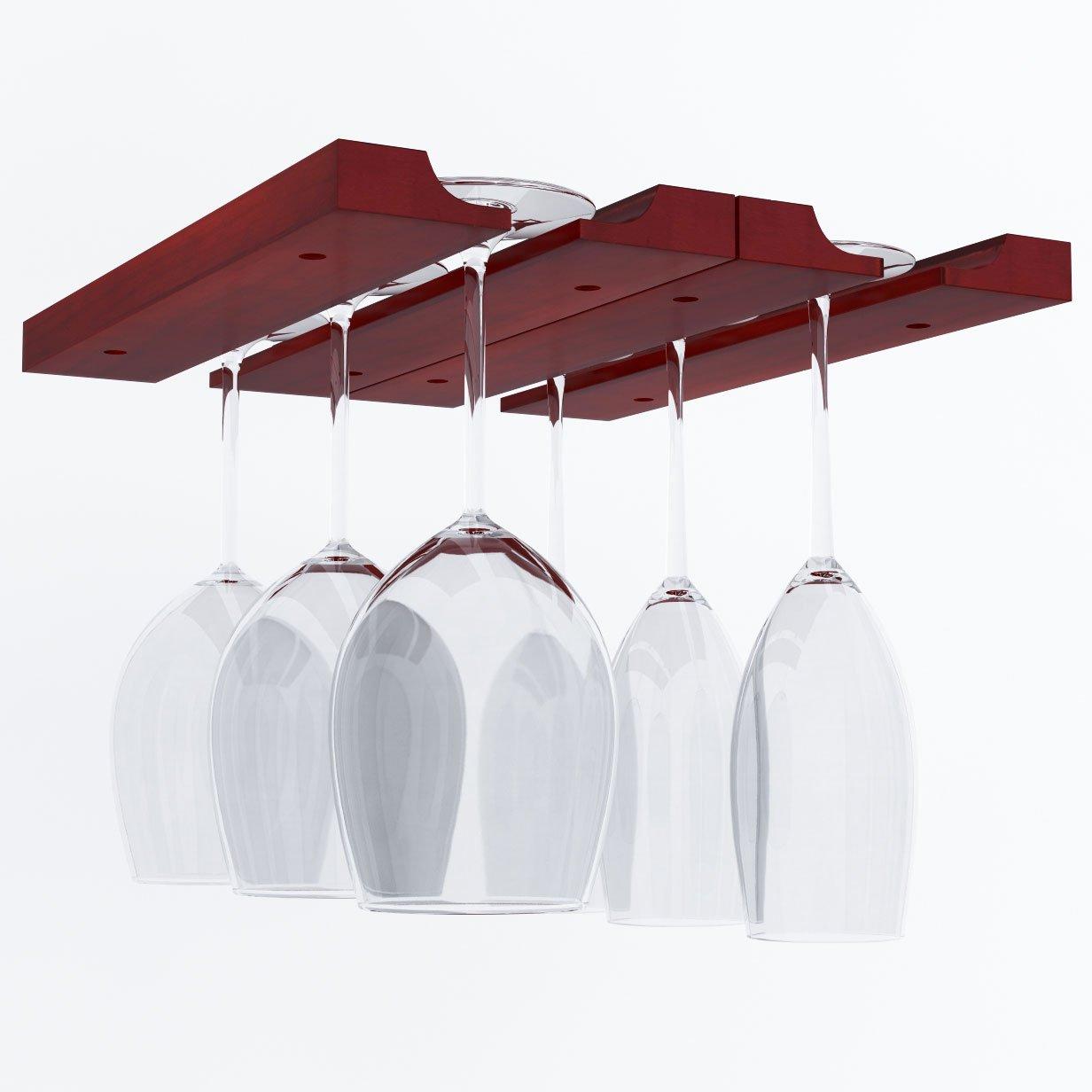 Hanging Under Cabinet Stemware Wine Glass Holder Rack , Adjustable , Mahogany Wood
