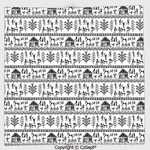 (Microfiber Square Towel,Ancient Warli Art with Tribal Native American Icon in Rural Folk,Suitable for Camping,Running,Cycling,Gym(13.77x13.77 inch),Black White)