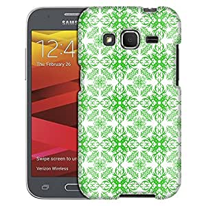 Samsung Galaxy Core Prime Case, Slim Fit Snap On Cover by Trek Victorian Astonishing Green on White Case