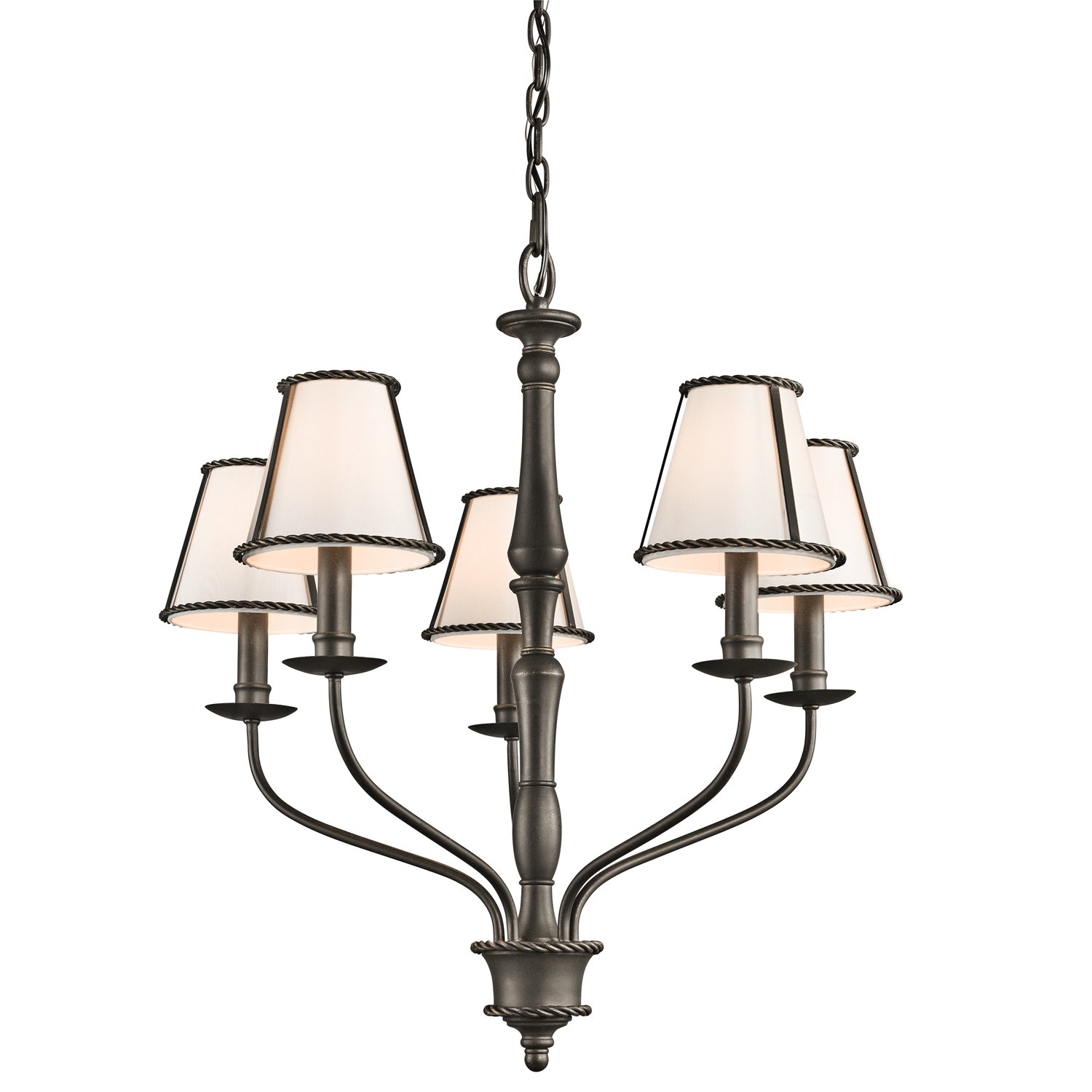 Kichler 43339OZ Donington 5-Light Chandelier, Olde Bronze Finish with Ivory Fabric Shades